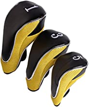 Andux Golf Club Driver Wood Head Covers with Hook & Loop Set