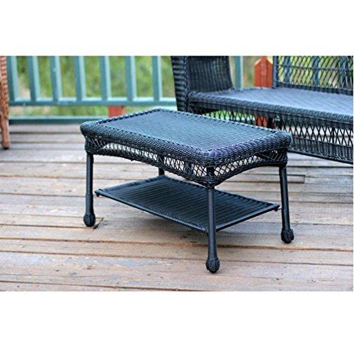 Jeco W00207-T Black Wicker Patio Furniture Coffee Table