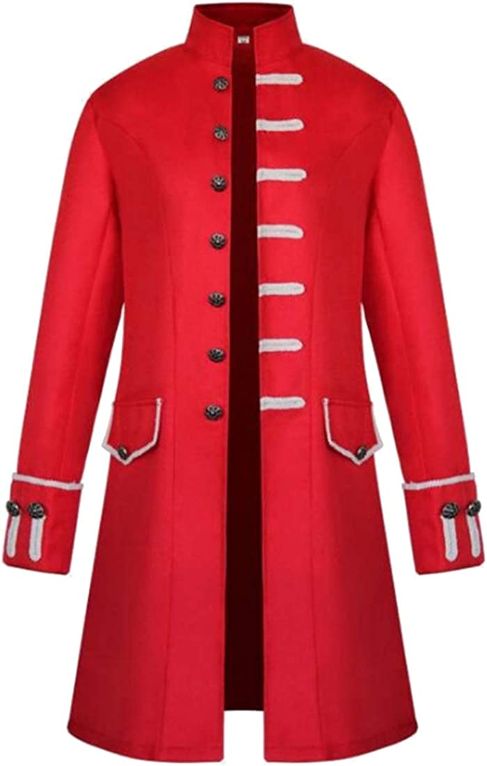 MK988 Mens Tailcoat Punk The Medieval Times Plus Size Pure Color Mid Length Trench Jacket Cardigan Coat