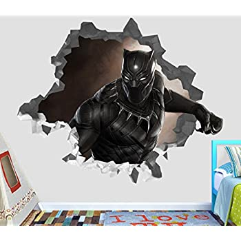 Captain america civil war black panther marvel comics t challa wakanda wall decal sticker vinyl decor door window poster mural broken wall 3d designs