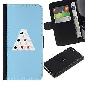 Apple iPhone 5 / iPhone 5S , la tarjeta de Crédito Slots PU Funda de cuero Monedero caso cubierta de piel (Minimalist Card House)
