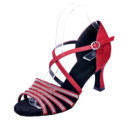 Bene Lampo Dimensioni Tacchi Alti Scarpe Donne Grandi Di Yc Seta Rosso Sandali Da Di L 7 Latino Ballo Con 5 Cantieri Camera O7qCp7