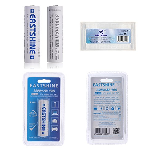 EASTSHINE E35U 3500mAh 10A Flat Top 3.7V 12.9Wh 18650 Rechargeable Li-ion Battery for High Drain Devices, 2Packs