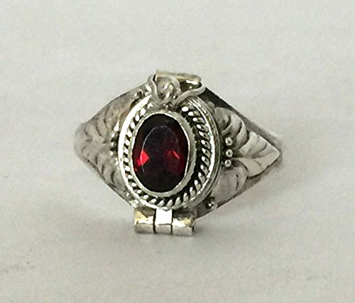 Red Garnet January birthstone Poison Ring Bali Sterling Silver Secret Locket