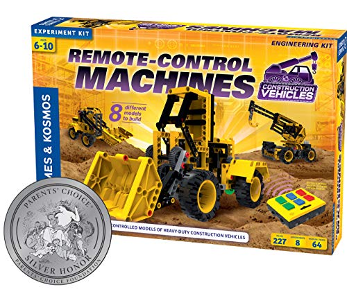 Engineering Experiment Station - Thames & Kosmos Remote-Control Machines: Construction Vehicles | Science & Engineering Experiment Stem Kit | Build 8 Real Working Models | Parents' Choice Silver Award Winner |Astra Best Toys for Kids