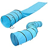"Kosmo Supply Dog Tunnel, Agility Equipment, 18 Ft Long, 24"" Open, Blue, Polyester, Play Tunnels for Training Small & Medium Dogs, Large Obstacle Course for Pets, With Carrying Case"
