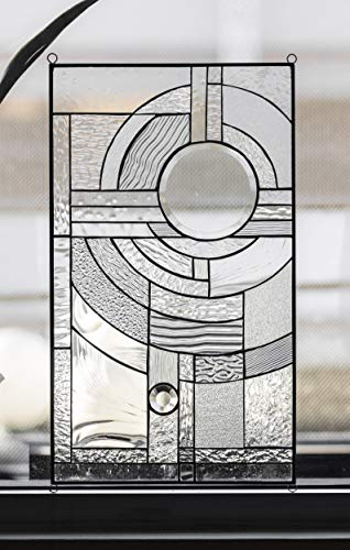 Mexicolour Stained Glass Abstract Panel Contemporary Beveled Tiffany Style RV Window Door Frank Lloyd Wright Inspired - Moon Rising