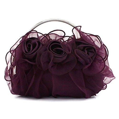 Mujer Clásico Flor Bolso Festivo Bolso Nupcial Bolso Del Cordón Manera Bolso De Tarde Casual Elegante Purple