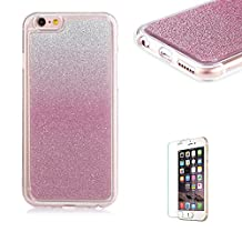 iPhone 4/4S Case [with Free Screen Protector], Funyye Luxury Bling Glitter Shiny Sparkly Crystal Clear Ultra Slim Thin Pink Gradual Colour Changing Protective TPU Soft Silicone Rubber Gel Bumper Case Cover for Apple iPhone 4/4S