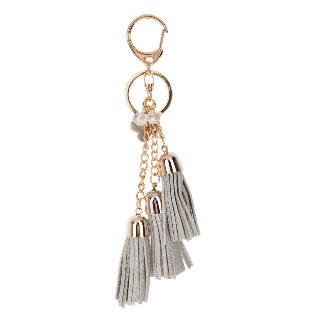 Fashion Bag Faux Leather Tassel Pendant Accessory Purse Decor Charm Keychain - Silvery MagiDeal