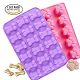Image of Food Grade Silicone Mold, IHUIXINHE Non-stick Ice Cube Mold, Jelly, Biscuits, Chocolate, Candy, Cupcake Baking Mould, Muffin Pan ( Puppy Paw Bone 2PCS )