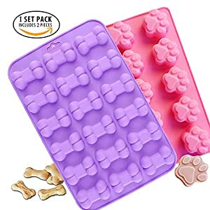 Food Grade Silicone Mold, IHUIXINHE Non-stick Ice Cube Mold, Jelly, Biscuits, Chocolate, Candy, Cupcake Baking Mould, Muffin Pan ( Puppy Paw Bone 2PCS )