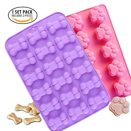 Plastic Dog Mold (Food Grade Silicone Mold, IHUIXINHE Non-stick Ice Cube Mold, Jelly, Biscuits, Chocolate, Candy, Cupcake Baking Mould, Muffin Pan ( Puppy Paw Bone 2PCS ))