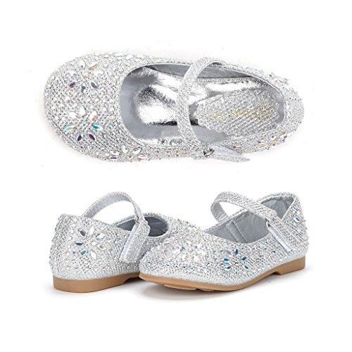 Dream Pairs ANGEL-66 Mary Jane Rhinestone Embelishment Throughout Velcro Strap Ballerina Flat (Toddler/ Little Girl) ANGEL-66-SILVER 4 M US (Ballerina Wedding Dresses)