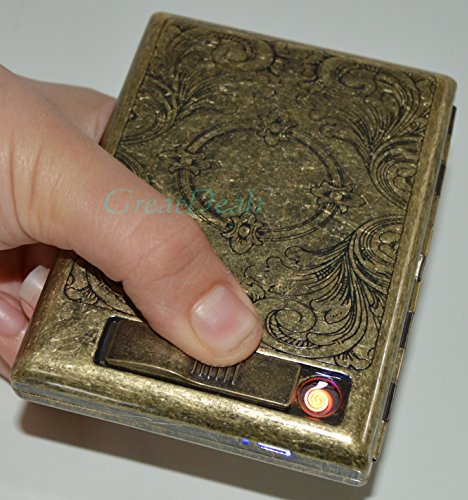 Antique Gold USB Rechargeable Windproof Metal Electric Built-in Flame Less Lighter Cigarette Cigar Storage Case (FREE CAR sticky pad for Phone PDA MP3 MP4) GD-1383