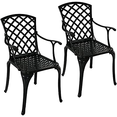 Sunnydaze Patio Chairs Set of 2, Outdoor Metal Dining Chair, Durable Cast Aluminum Construction with Crossweave Design, Black - SIZED FOR BISTRO OR DINING SETS: Balcony chairs measure 22.5 inches wide x 22 inches deep x 37 inches tall; Seat dimensions: 16.25 inches wide x 17.5 inches deep x 18.75-inch seat height; Arms: 1.25 inches wide x 16 inches long x 26.75 inches tall from the ground; Weighs 15 pounds per chair VERSATILE USE : Chairs are designed for comfort and to last inside and outside with high quality cast aluminum construction and powder-coated finish INCLUDES 2 CHAIRS: Perfect furniture set for pairing with a bistro table, placement on the lawn, front porch, deck, or indoors - patio-furniture, patio-chairs, patio - 51QdLqZdLqL. SS400  -