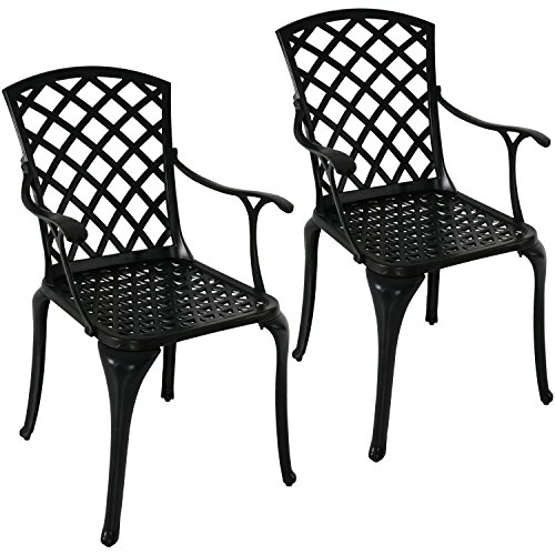 Sunnydaze Patio Chairs Set of 2, Outdoor Metal Dining Chair, Durable Cast Aluminum Construction with Crossweave Design, Black