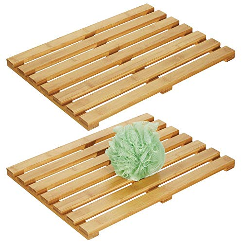 mDesign 100% Bamboo Non-Slip Rectangular Spa Bath Mat - for Bathroom Showers, Bathtubs, Floors - Slatted Design, Eco-Friendly - Indoor and Outdoor Use, 17.5 Inch Wide, 2 Pack - Natural Light Wood