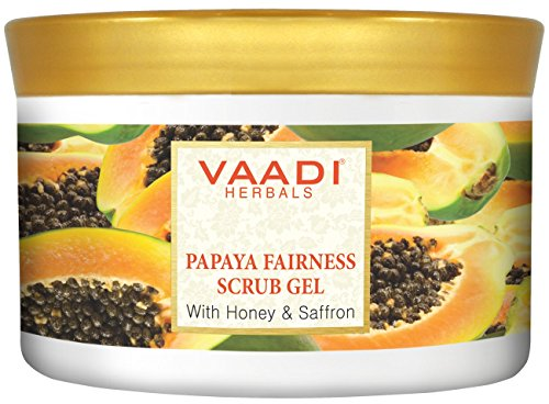 Vaadi Herbals Papaya Fairness Facial Scrub Gel With Honey Saffron – Lightening Brightening The Skin Tone – 500 Gm 17.64 Oz – All Natural –