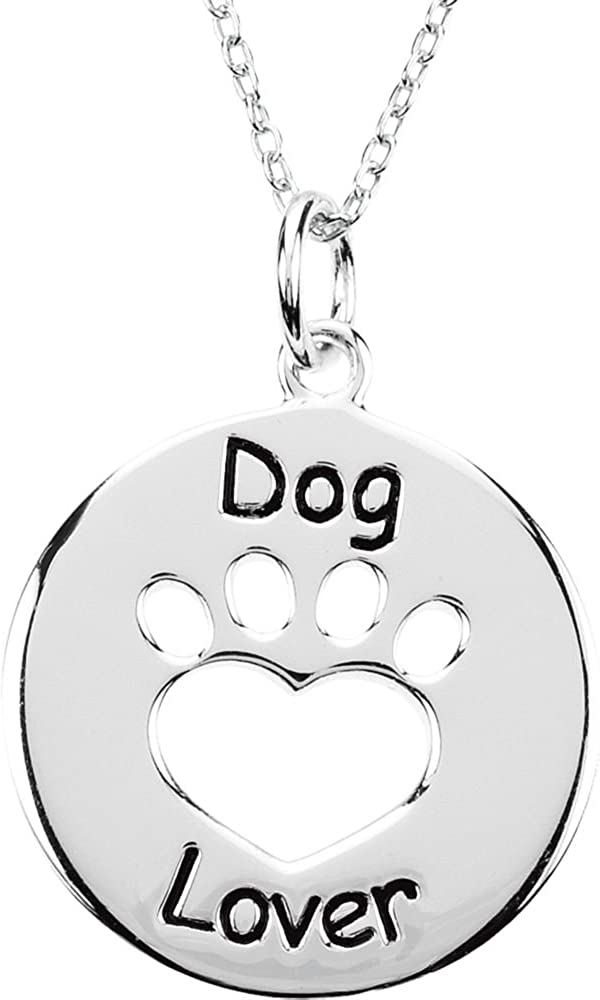 Sterling Silver Heart U Back Dog Lover Paw Necklace