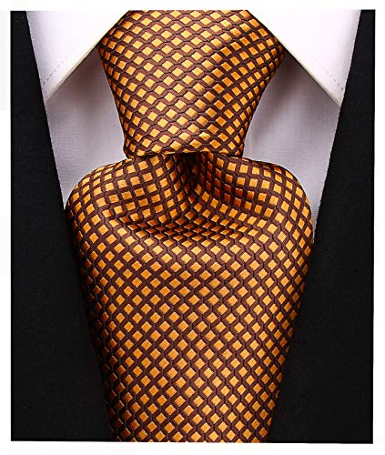 Diamond Striped Ties for Men - Woven Necktie - Brown w/Yellow ()