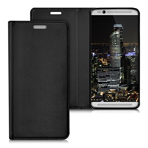 kwmobile Flip Case for ZTE Axon 7 Mini - Smooth PU Leather Slim Folio Cover Protective Phone Holder - Black
