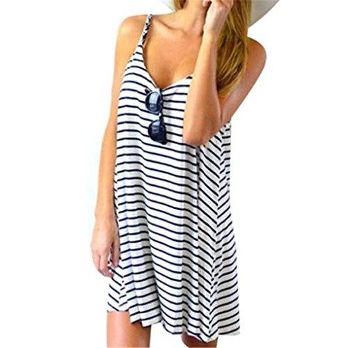 Women Dress,Haoricu Fall Women Summer Sleeveless Striped Loose Mini Dress Beach Party Casual Sundress (Asian Size:M, Blue)