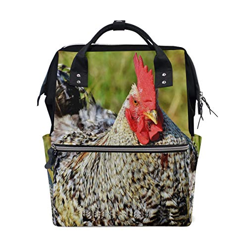 c4a69497ae8d Laptop Travel Backpack for Women Red Plaid Pattern Big Rooster Diaper Bag  Backpack Multi-Function Mummy Nappy Bags