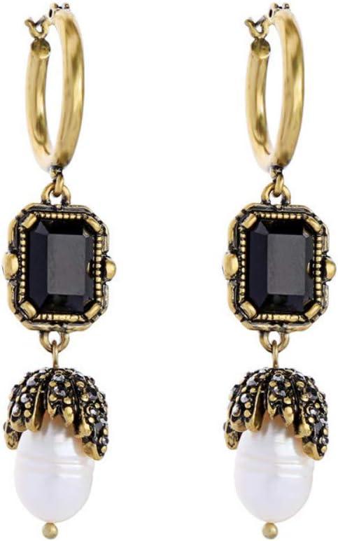 Qingerda Pendientes Pendientes De Perlas De Piedras Preciosas Geométricas Negras