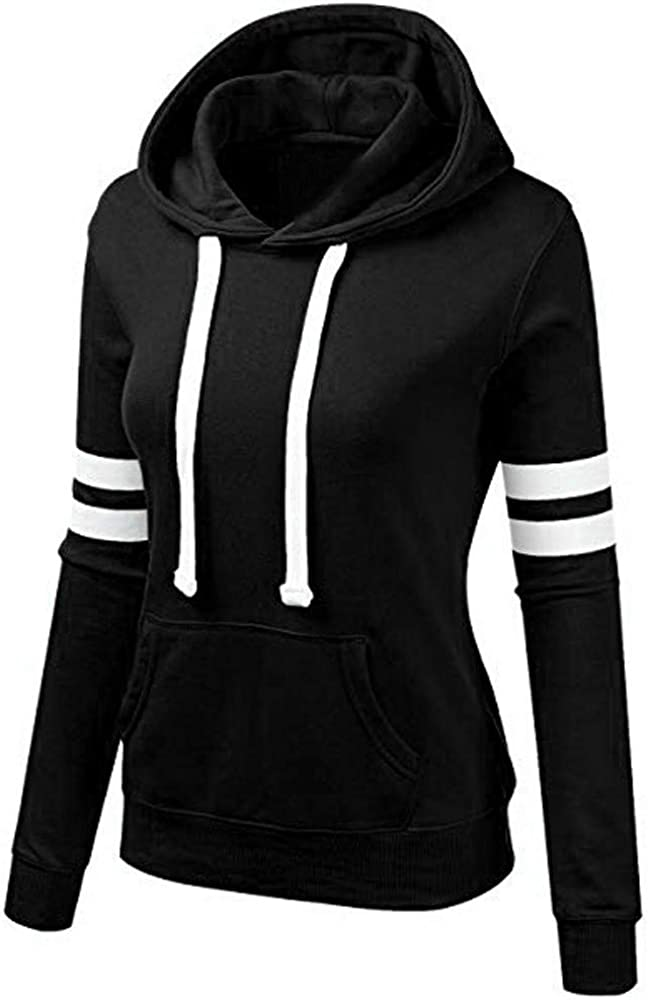 OTTATAT Women Sweatshirt Fashion Patchwork Stripe Long Sleeves Blouse Hooded with Kangaroo Pocket Pullover Tops Shirt