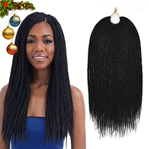 Urqueen Ombre Senegalese Crochet Hair Braids(6 Pack,75g/Pack) 18 Inch 30 Strands/Pack Synthetic Hair Twist Hair Extensions For Women - Twist Medium