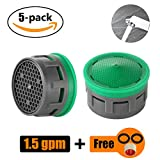 faucet aerator replacement - JQK Faucet Aerator, 1.5 GPM Flow Retrictor Insert Faucet Aerators Replacement Parts Bathroom 5 Pack, FAN15-P5