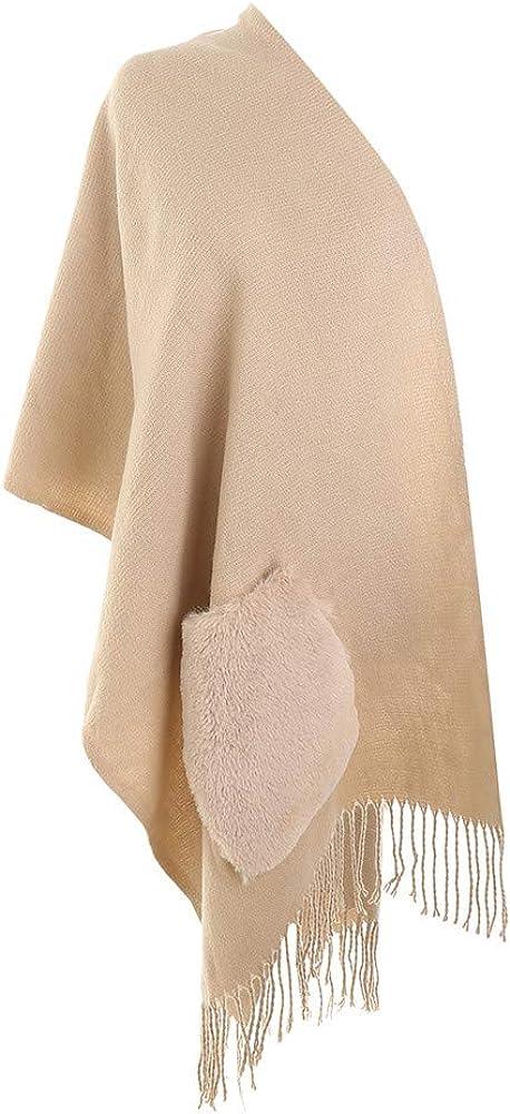 Inverno Donna Nappe Con Tasca Morbida Sciarpa In Lana Di Cashmere Grande Scalda Pashminas E Avvolgente Coperta Con Stola Calda