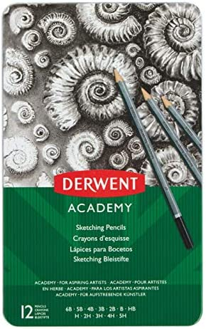 12 pezzi Derwent Matite Grafiche in Latta