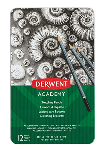 Derwent Graphic - Derwent Academy Sketching Pencils, 12 Degrees of Hardness Metal Tin, 12 Count (2301946)
