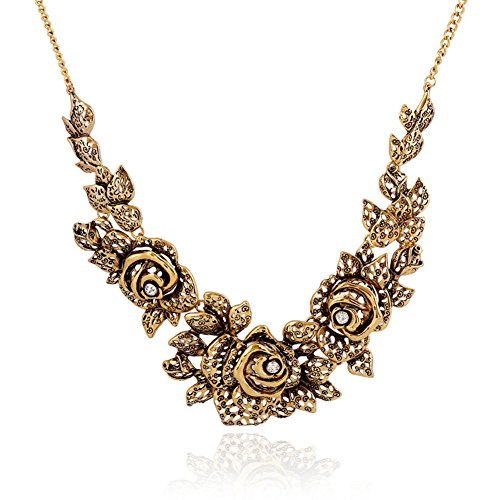 S& E Women's Gold Tone Rose Vintage Jewelry Chunky Chain Necklace Choker Statement Evening Party Necklace Vintage Gold Tone Choker