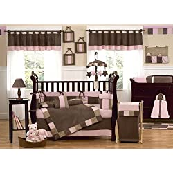 Sweet Jojo Designs Modern Soho Pink and Brown Baby Girl 9pc Crib Bedding Set