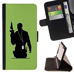 For Apple (4.7 inches!!!) iPhone 6 / 6S Case , Soldado Música- la tarjeta de Crédito Slots PU Funda de cuero Monedero caso cubierta de piel