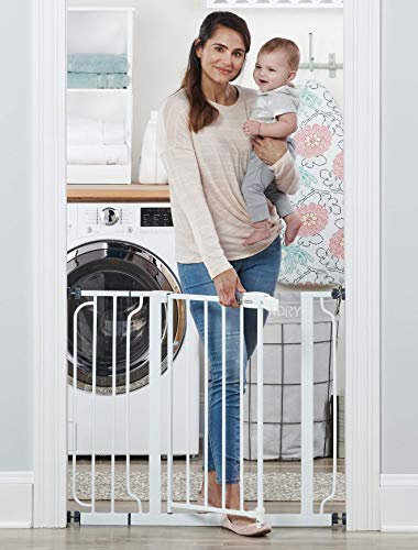 Premium Pack Easy Step 38.5-Inch Extra Wide Walk Thru Baby Gate, Includes 6-Inch Extension Kit, 4 Pack Pressure Mount Kit, 4 Pack Wall Cups and Mounting Kit