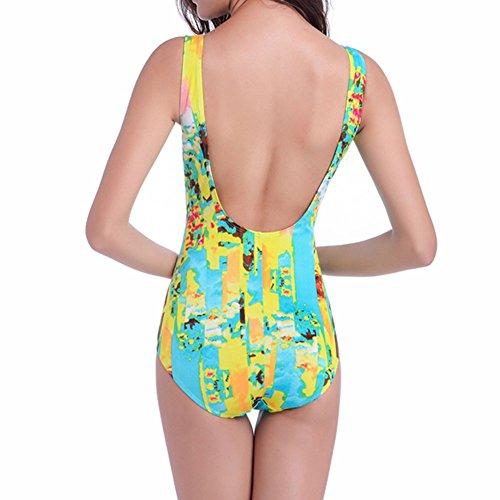 Xinvision Size Swimwear Bikini Floral Swimsuit One Yellow Swimming Summer Women Beach Piece Padded Plus for Suit Print vIqIp4nrt