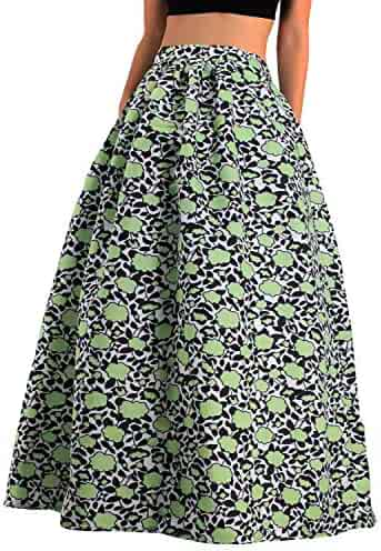7b24e5c63 Hoohu Womens Bohemian African Floral Print High Waist Pleated Hem  Full/Ankle Length Long Maxi