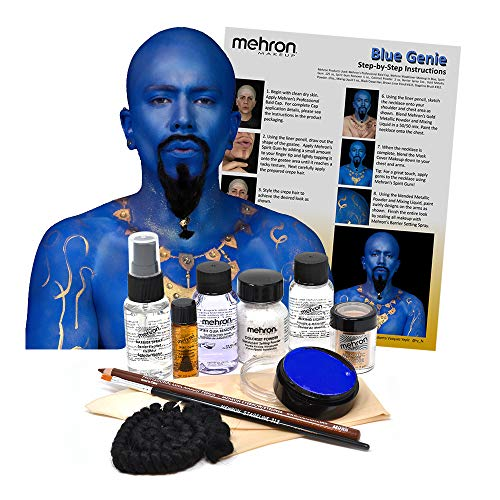 Mehron Blue Genie Costume Makeup Kit – Special Effects Face/Body Paint with Powder, Liner Pencil, Bald Cap, Spirit Gum, Crepe Hair and Professional Quality Brush – Step-by-Step Instructions