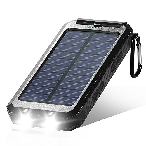 Solar Charger, Dostyle 10000mAh Dual USB Solar Battery Charger External Battery Pack Phone Charger Power Bank with Carabiner Flashlight & Compass (Black)