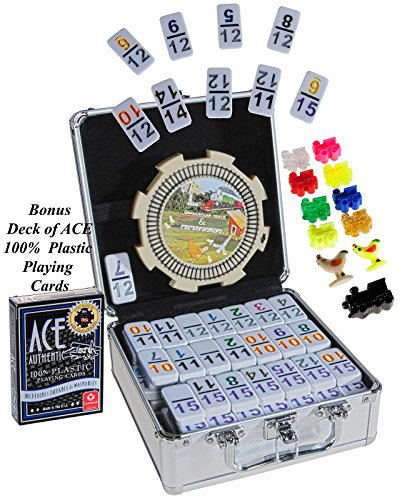 Dominoes Double 15 Mexican Train Set _ with Color-Coded Numbers in Aluminum Case _ Bonus 1 Deck of Ace 100% Plastic Playing Cards (Ships Random Color Blue or Red Backing)