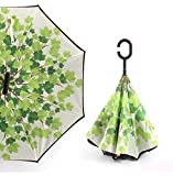 Starry Sky Anti UV Inverted Umbrella Reverse Folding Double Layer Umbrellas Stand Inside,green shade