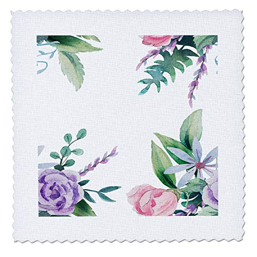 - 3dRose Made in The Highlands - Vector-Floral - Delicate Floral Frame - 20x20 inch Quilt Square (qs_300701_8)