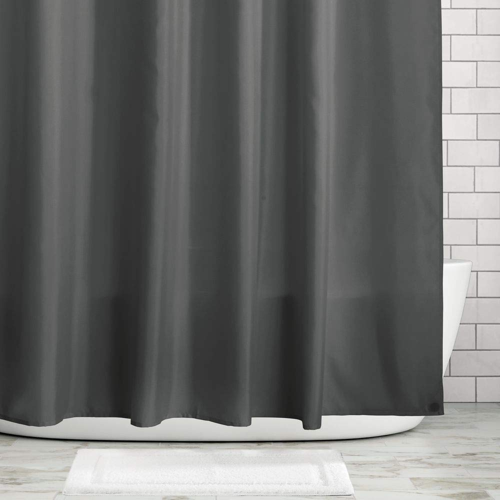 Liner 72 x 72 Natural//Ivory mDesign Water Repellent Mildew Resistant Heavy Duty Flat Weave Fabric Shower Curtain Weighted Bottom Hem for Bathroom Shower and Bathtub