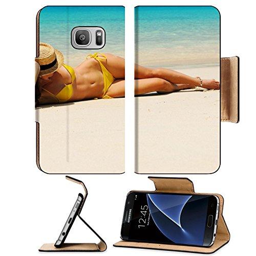 Liili Premium Samsung Galaxy S7 Flip Pu Leather Wallet Case Woman in bikini at tropical beach Photo 17303017 Simple Snap - Sunglasses Malaysia Offer