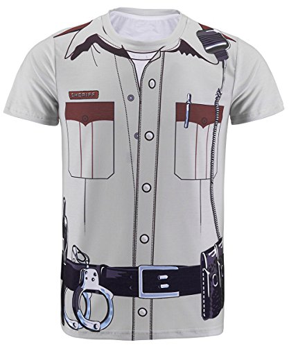 Funny World Men's Police Uniform Costume T-Shirts (XL)