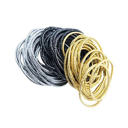 s Glitter Elastic Hair Bands Double Strand Stitching Bow DIY Rubber Bands ()